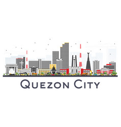 Quezon city philippines skyline with gray vector