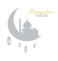 Ramadan kareem concept shadow of muslim mosque vector