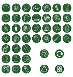 Recycle material icons vector