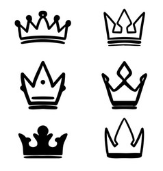 set hand drawn crown symbols design elements vector image