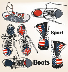 set hand drawn sport boots vector image