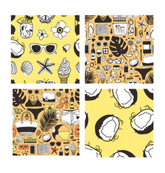 set of hand drawn summer seamless patterns yellow vector image