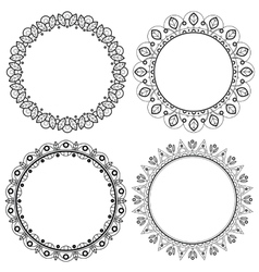 Set of spring floral round frames with leaves vector image