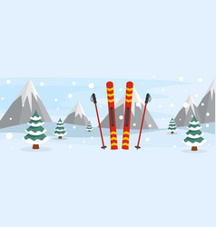 Skiing banner flat style vector