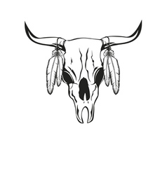 skull bull with feathers vector image vector image