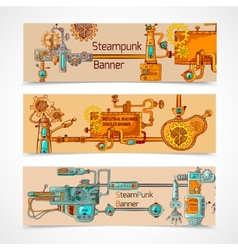 Steampunk Banner Set vector image