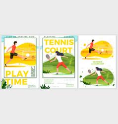summer sport posters set - football tennis vector image