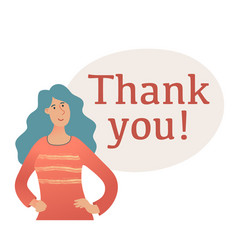 thank you banner with young woman in sweater vector image