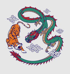 tiger and dragon flat color vector image
