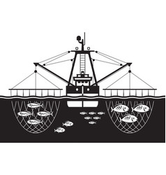 trawler ship catch fishes in sea vector image