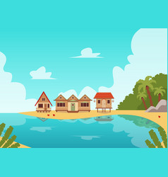 tropical island coast line landscape with wooden vector image