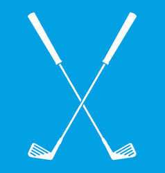 two golf clubs icon white vector image