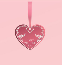 valentines day greeting card love heart pattern vector image