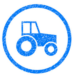 Wheeled tractor rounded grainy icon vector