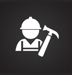 worker with hammer on black background vector image