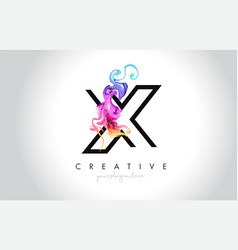 X vibrant creative leter logo design with vector