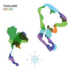 Abstract color map of Thailand vector image