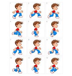 Animation of running boy twelve frames vector image