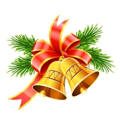gold christmas bells with red vector image vector image