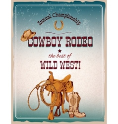 Rodeo poster colored vector image vector image