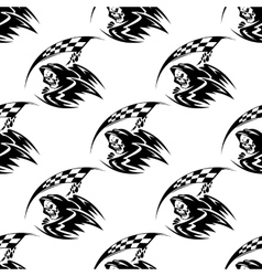 Seamless pattern of black death with scythe vector image