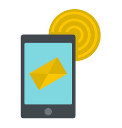 smart phone sending email icon isolated vector image