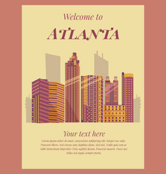 welcome to atlanta poster vintage card vector image