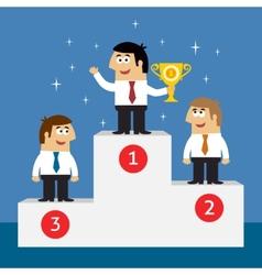 Business life employees on winners podium vector image vector image
