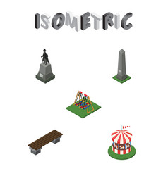 Isometric city set of sculpture seesaw carousel vector