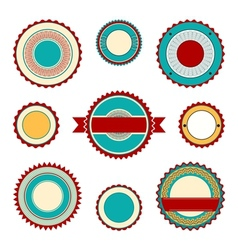 Labels with guilloche elements in turquoise vector image vector image