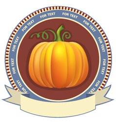 Pumpkin label with scroll for text retro image vector image vector image