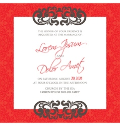 red vintage wedding invitation card vector image vector image