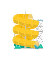 Aqua park yellow plastic water tube icon vector