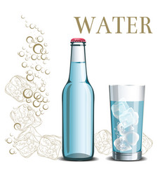 bottle of water and a glass on the background vector image