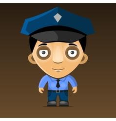 Cartoon Police Officer on Dark Background vector image vector image