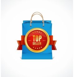 paper bag and gold label Top Seller vector image