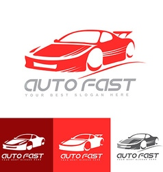 Red sports car logo vector image