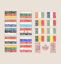 set of the various flags vector image