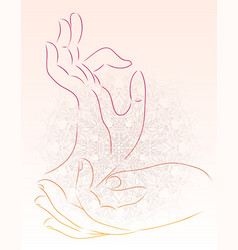 a hand of a buddha with a mandala pattern vector image vector image