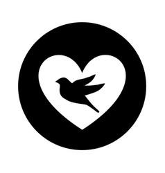 heart romantic with bird vector image vector image