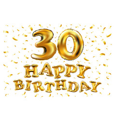 30th birthday celebration with gold balloons and vector image