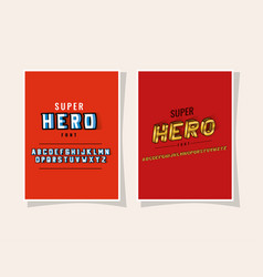 3d super hero lettering and alphabet on red vector image