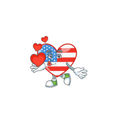 A sweetie independence day love holding heart vector