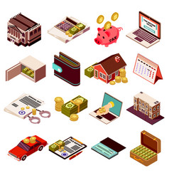 Accounting and taxes isometric icons vector