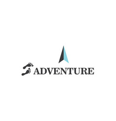 Adventure font with foot and arrow compass logo vector