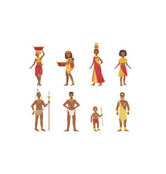 African people set aboriginal men women and kids vector