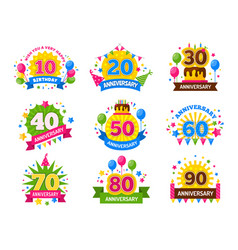 anniversary numbers celebration party year vector image