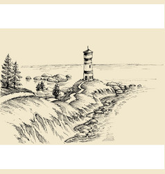 beach drawing a path to the lighthouse and vector image