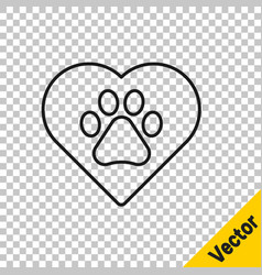 black line heart with animals footprint icon vector image