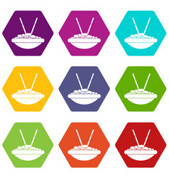 bowl of rice with chopsticks icon set color vector image
